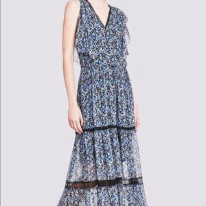 Elie Tahari blue floral tiered silk A-line maxi